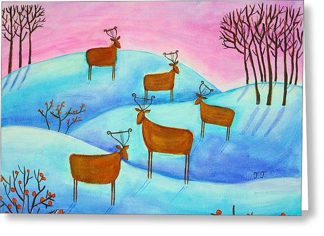 Winter Landscape With Animals Greeting Cards - Sniffing the Snow Greeting Card by Teodora Totorean