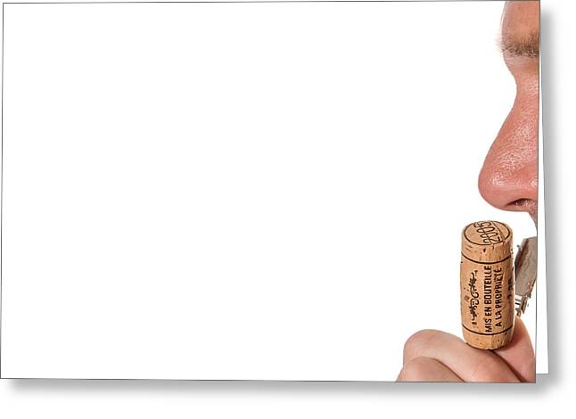 Recently Sold -  - Winetasting Greeting Cards - Sniffing wine cork Greeting Card by Patricia Hofmeester
