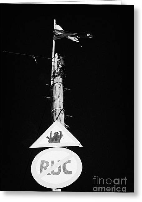 Nationalists Greeting Cards - sniper at work sign and no entry to the RUC on a telegraph pole at the entrance to the nationalist bogside area of Derry Londonderry Northern Ireland Greeting Card by Joe Fox