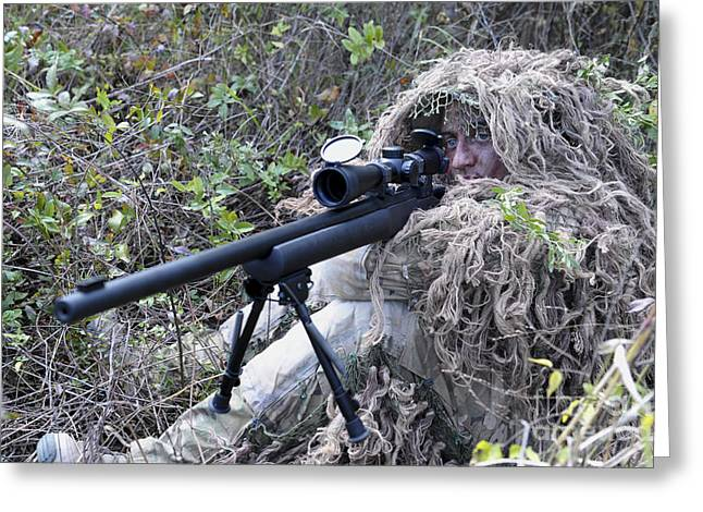 Scrutiny Greeting Cards - Sniper Dressed In A Ghillie Suit Greeting Card by Stocktrek Images