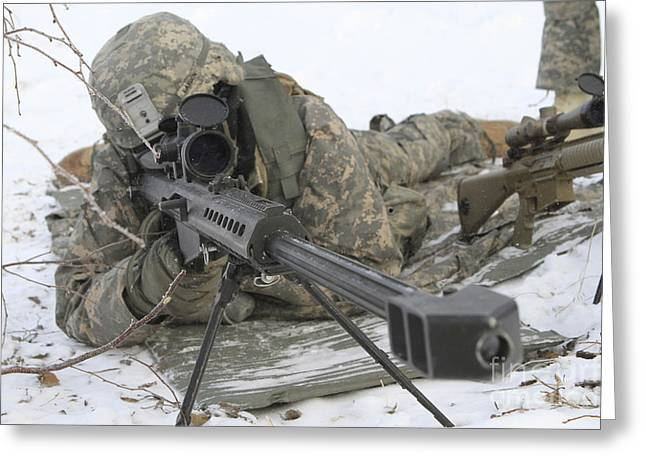 Wainwright Greeting Cards - Snipers Provide Overwatch At Fort Greeting Card by Stocktrek Images