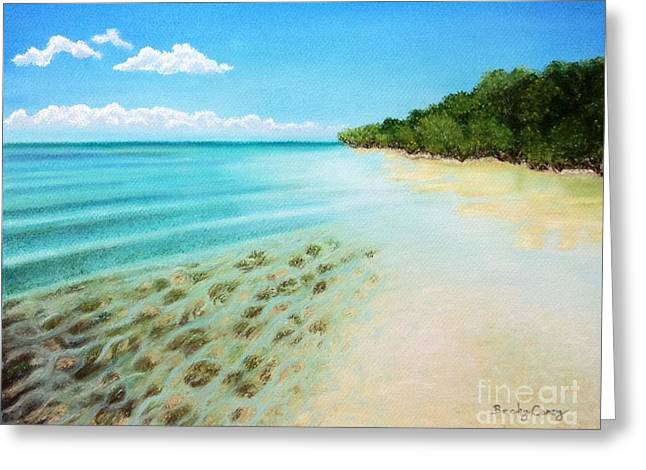 Tropical Beach Pastels Greeting Cards - Snipes Point Greeting Card by Becky Carey