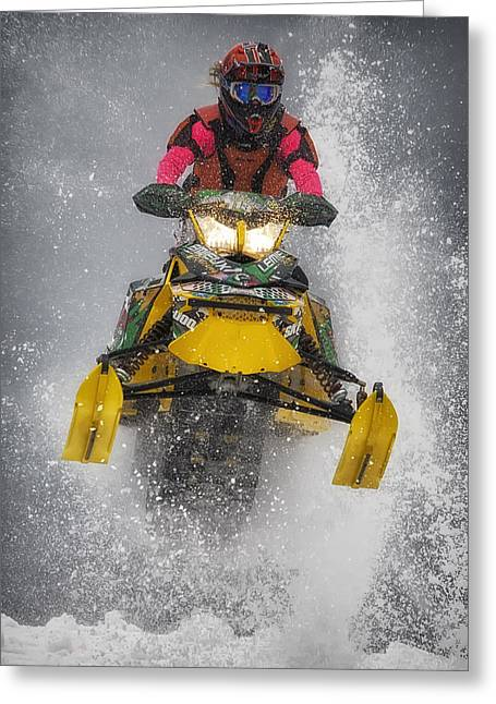 Snowmobile Greeting Cards - Sno-Cross Greeting Card by Wade Aiken