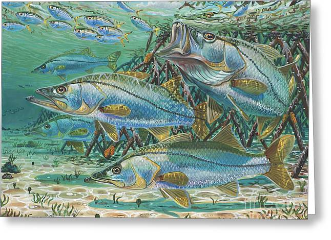 Sportfishing Boats Greeting Cards - Snook attack In0014 Greeting Card by Carey Chen