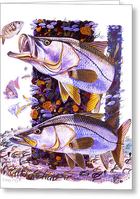 Hunting Beach Greeting Cards - Snook piling Greeting Card by Carey Chen