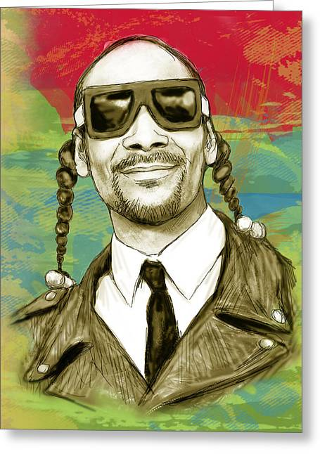 Doggy Greeting Cards - Snoop Dogg art sketch poster Greeting Card by Kim Wang