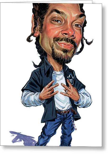Caricature Paintings Greeting Cards - Snoop Dogg Greeting Card by Art