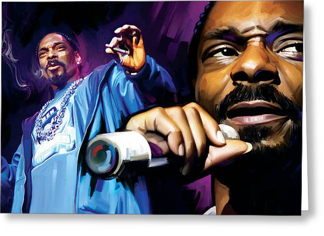 Rapper Greeting Cards - Snoop Dogg Artwork Greeting Card by Sheraz A