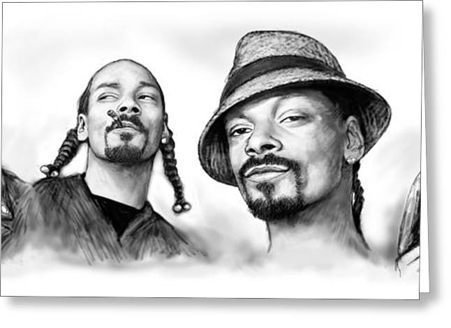 Many Mixed Media Greeting Cards - Snoop Dogg group art drawing sketch poster 30x85cm Greeting Card by Kim Wang