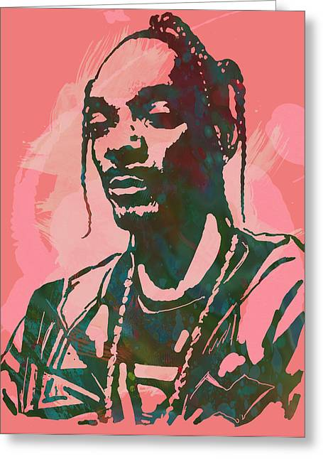 Snoop Dogg - Stylised Pop Art Drawing Potrait Poser Greeting Card by Kim Wang