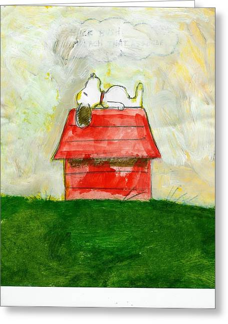 Doghouse Greeting Cards - Snoopy Asleep on Red Doghouse Greeting Card by David Lovins
