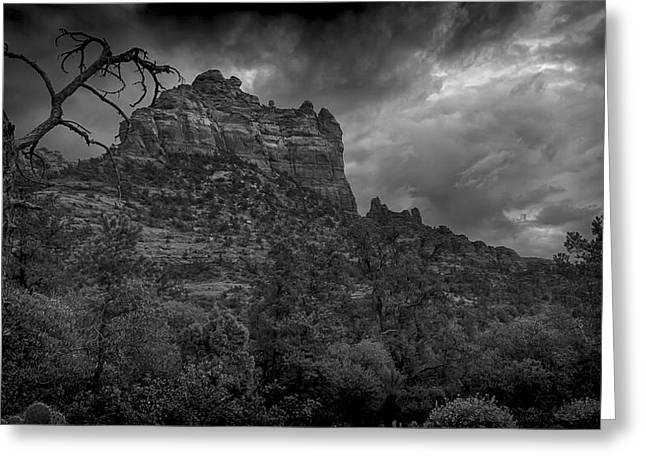 Snoopy Mountain in Black and White Greeting Card by Kelly Gibson