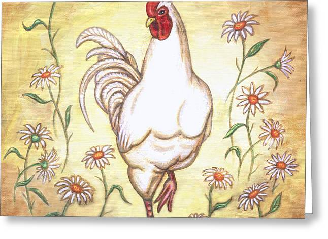Chicken Greeting Cards - Snooty the Rooster Two Greeting Card by Linda Mears