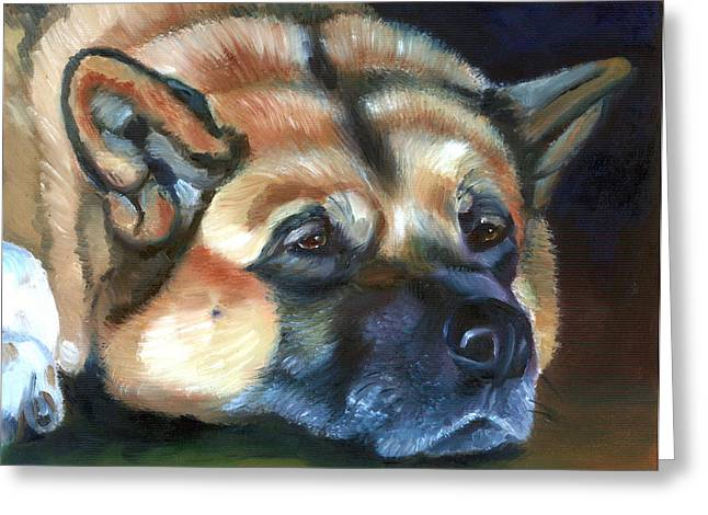 Recently Sold -  - Puppies Paintings Greeting Cards - Snooze Greeting Card by Lyn Cook