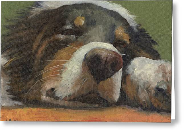 Sleeping Dogs Greeting Cards - Snoozing Greeting Card by Alecia Underhill