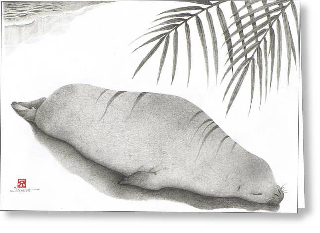 Ocean Mammals Drawings Greeting Cards - Snoozing Ilio Greeting Card by Solveig Nordwall
