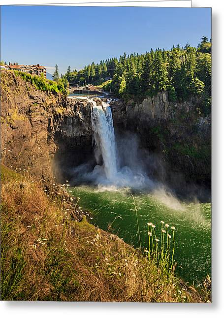 Historic Power Plants Greeting Cards - Snoqualmie Falls and Salish Lodge Greeting Card by Scott Campbell