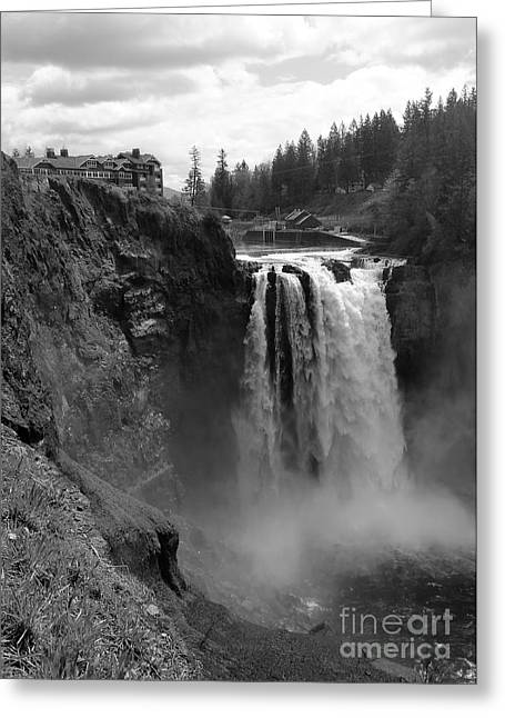 Black Lodge Photographs Greeting Cards - Snoqualmie Falls Lodge and Waterfall - Black and White Greeting Card by Carol Groenen