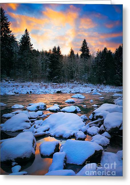 Picturesque Greeting Cards - Snoqualmie Falls Sunset Greeting Card by Inge Johnsson