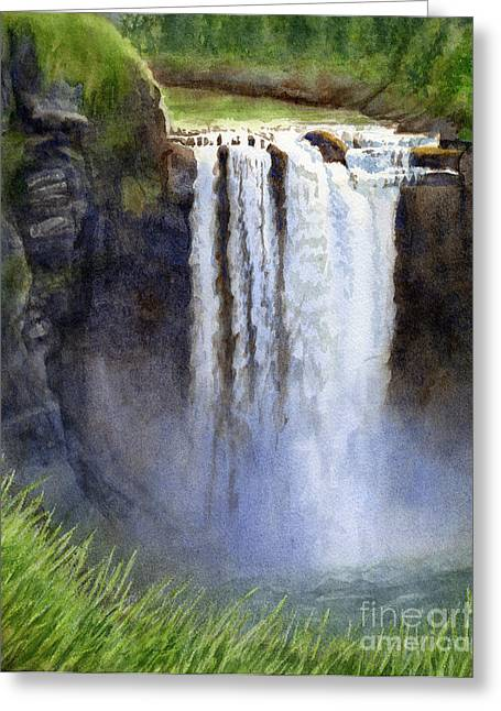 Rushing Water Greeting Cards - Snoqualmie Falls without the lodge Greeting Card by Sharon Freeman