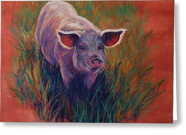 Pigs Pastels Greeting Cards - Snouty Princess Greeting Card by Kay Ridge
