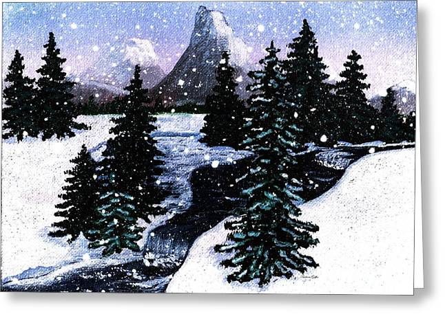 Babbling Paintings Greeting Cards - Snow and a Cold Mountain Brook Painterly  Greeting Card by Barbara Griffin