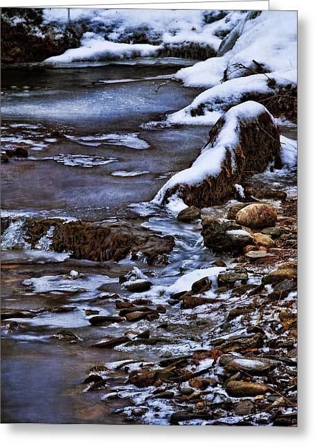Stream Digital Art Greeting Cards - Snow And Ice Water And Rock Greeting Card by Dale Kincaid