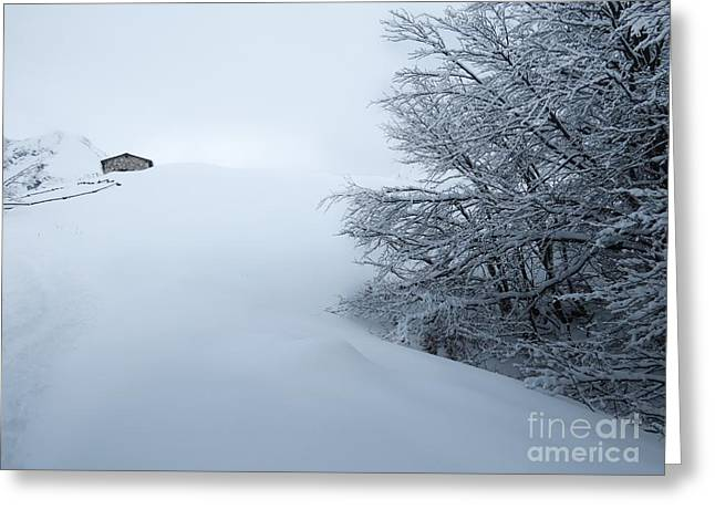 Ski Art Greeting Cards - Snow and mountain Greeting Card by Ulisse