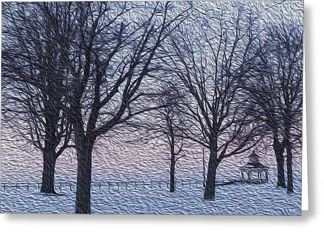 Charlotte Paintings Greeting Cards - Snow and Trees Oil Painting Greeting Card by David Drexler