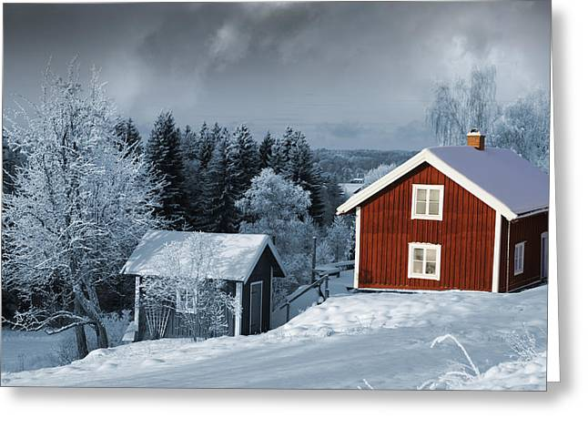 Snow Scape Greeting Cards - Snow And Winter Harmony Greeting Card by Christian Lagereek