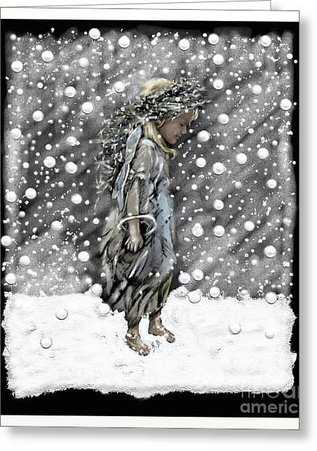 Playing Angels Digital Greeting Cards - Snow Angel Greeting Card by Belinda Borradaile