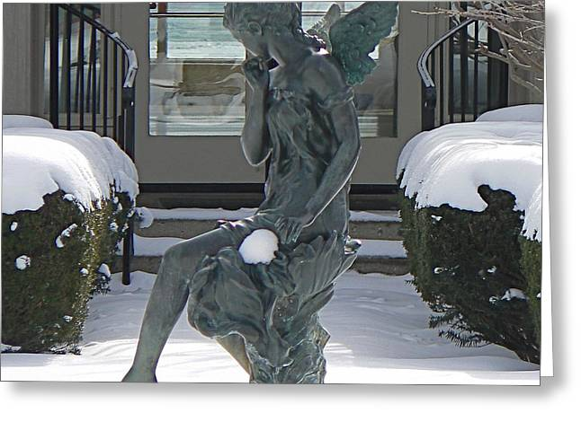 Pensive Greeting Cards - Snow Angel on the Lake Greeting Card by Dona  Dugay