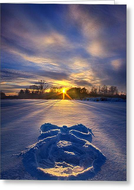Angel Blues Greeting Cards - Snow Angel Greeting Card by Phil Koch