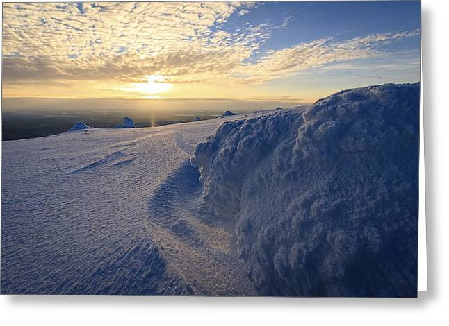 Snowy Evening Greeting Cards - Snow Greeting Card by Antti Viitakangas