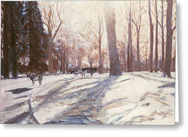 Emptiness Greeting Cards - Snow at Broadlands Greeting Card by Paul Stewart