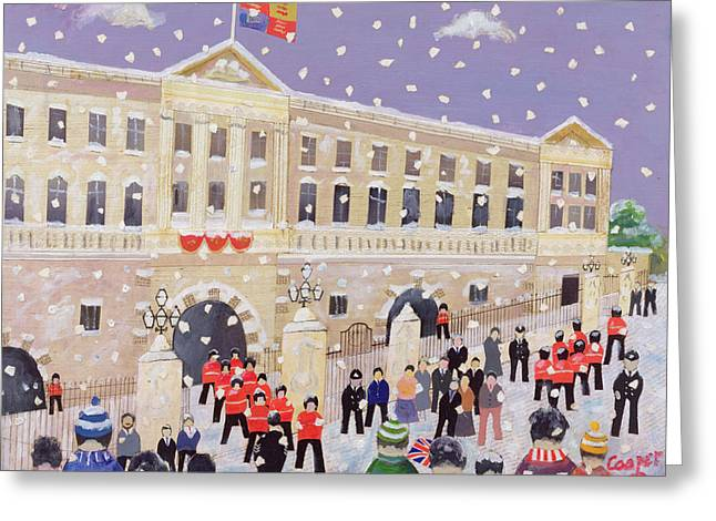 Buckingham Palace Greeting Cards - Snow at Buckingham Palace Greeting Card by William Cooper