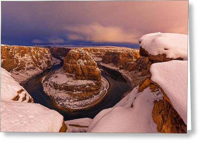 Winter Night Greeting Cards - Snow at Horseshoe Bend Greeting Card by Dustin  LeFevre