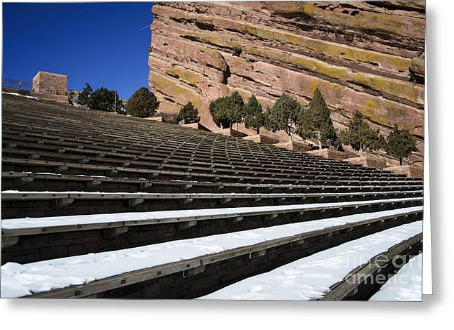 Theater Pyrography Greeting Cards - Snow at Red Rocks Greeting Card by Yoshiko Wootten