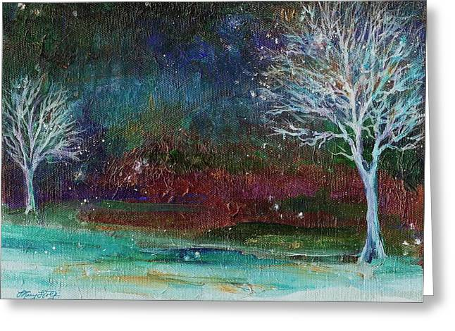 Snowy Evening Greeting Cards - Snow at Twilight Greeting Card by Mary Wolf