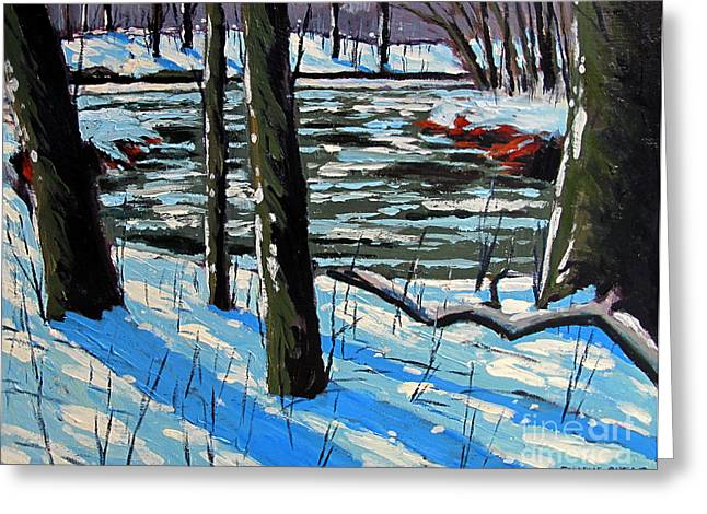 Snow Back On The Eel Greeting Card by Charlie Spear