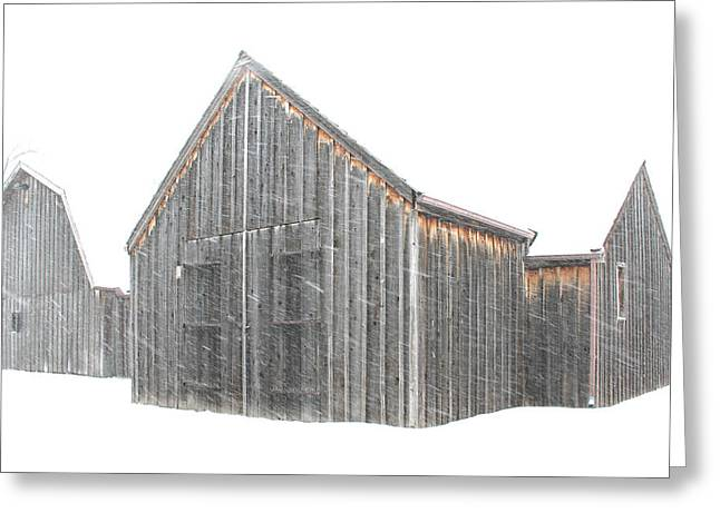 Sante Fe Trail Greeting Cards - Snow Barns Greeting Card by Christopher McKenzie