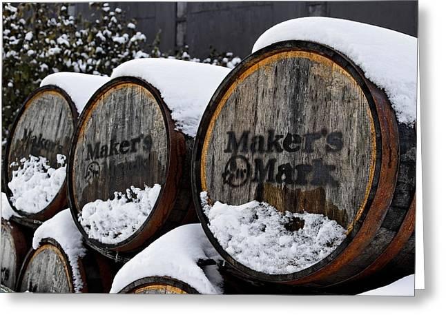 Maker Greeting Cards - Snow Barrels Greeting Card by Lone  Dakota Photography