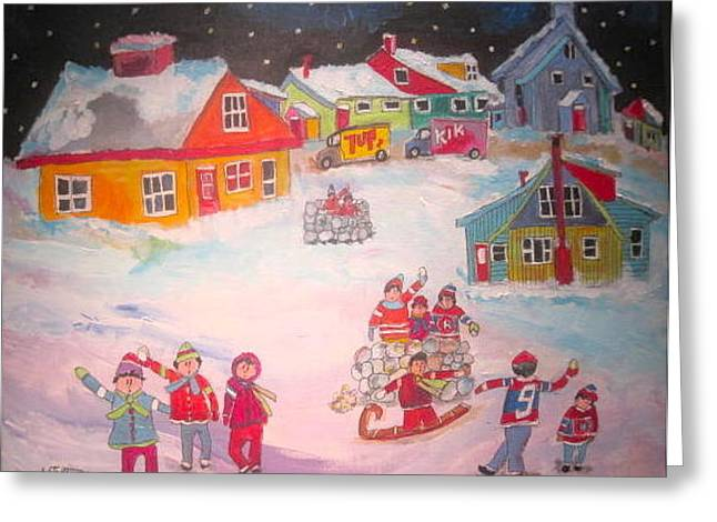 Litvack Greeting Cards - Snow Battle Winter Memories Greeting Card by Michael Litvack