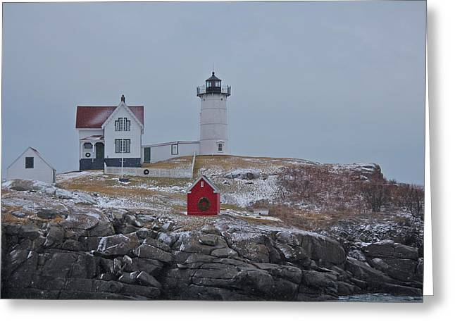 Cape Neddick Lighthouse Greeting Cards - Snow Beacon Greeting Card by Sheryl Bergman