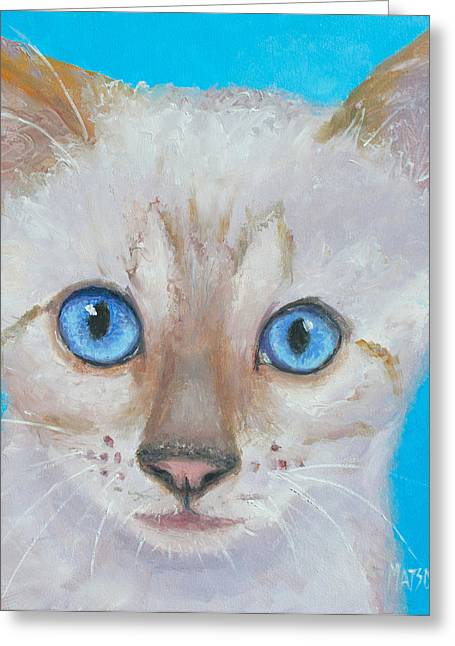 Photos Of Cats Paintings Greeting Cards - Snow Bengal Cat Greeting Card by Jan Matson