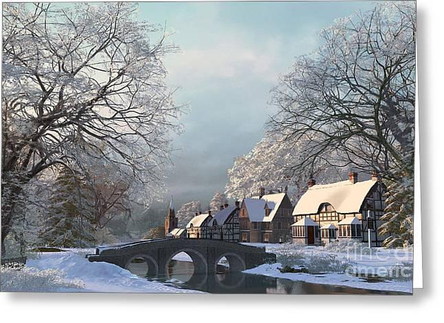 Stream Digital Art Greeting Cards - Snow Best Greeting Card by Dominic Davison