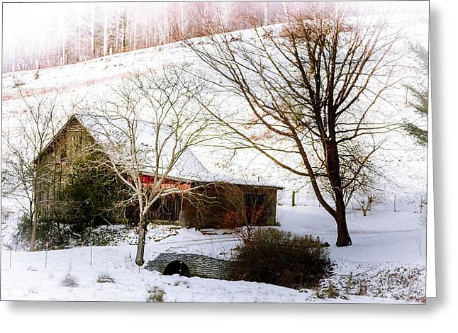 Red Barn In Winter Greeting Cards - Snow Blanket Greeting Card by Karen Wiles