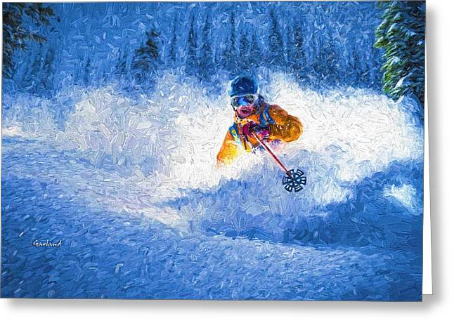 Ski Art Greeting Cards - Snow Blind Greeting Card by Garland Johnson