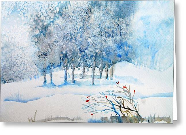 Snow Drifts Paintings Greeting Cards - Snow Blizzard in the Grove  Greeting Card by Trudi Doyle