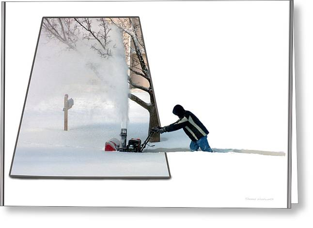 Ski Art Greeting Cards - Snow Blower Greeting Card by Thomas Woolworth